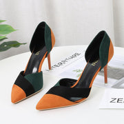 Sexy Suede Colorblock Point Toe Pumps
