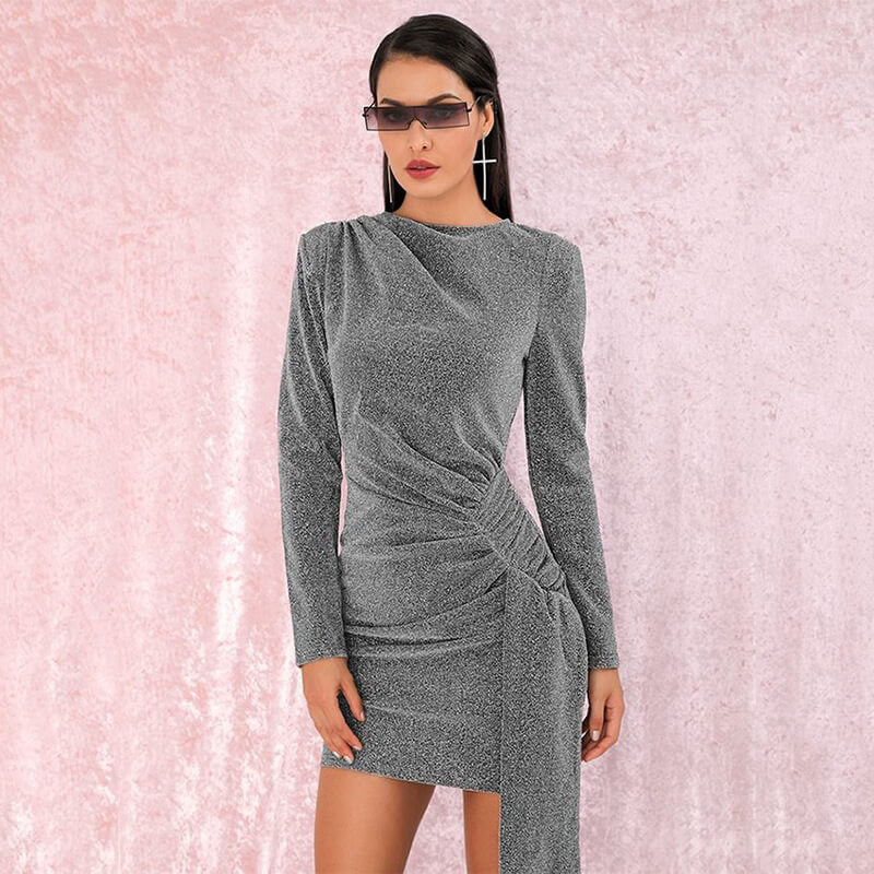 Long Sleeve Draped Sparkling Dress