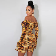 Party Long Sleeves Off Shoulder Tiger Skin Rompers