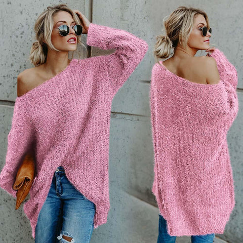Candy Color Long Sleeves Loose One Shoulder Long Sweater