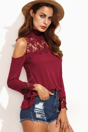 Scoop Lace Patchwork Bear Shoudler Pure Color Long Sleeves Blouse