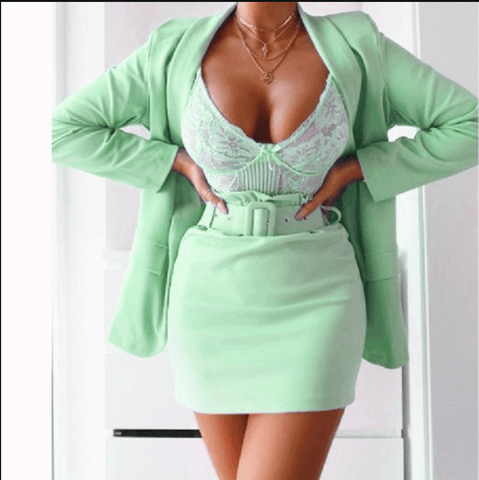 Sexy High Waist Plain Blazer Short Skirt Sets