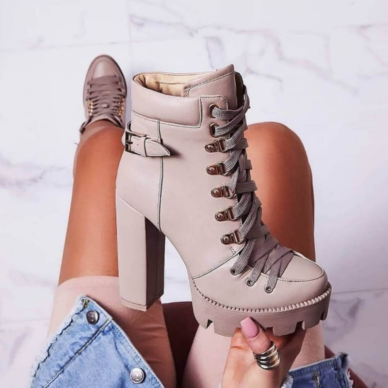 Platform Lace Up High Heel Ankle Boots