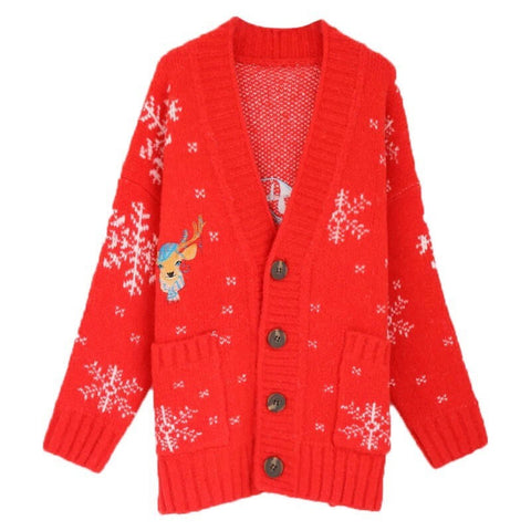 Christmas Reindeer Chunky Cardigan Sweater?