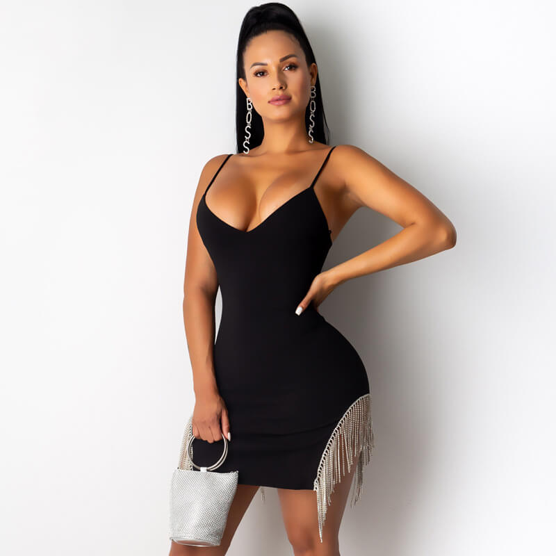 Sling Fringed Bodycon Mini Dress
