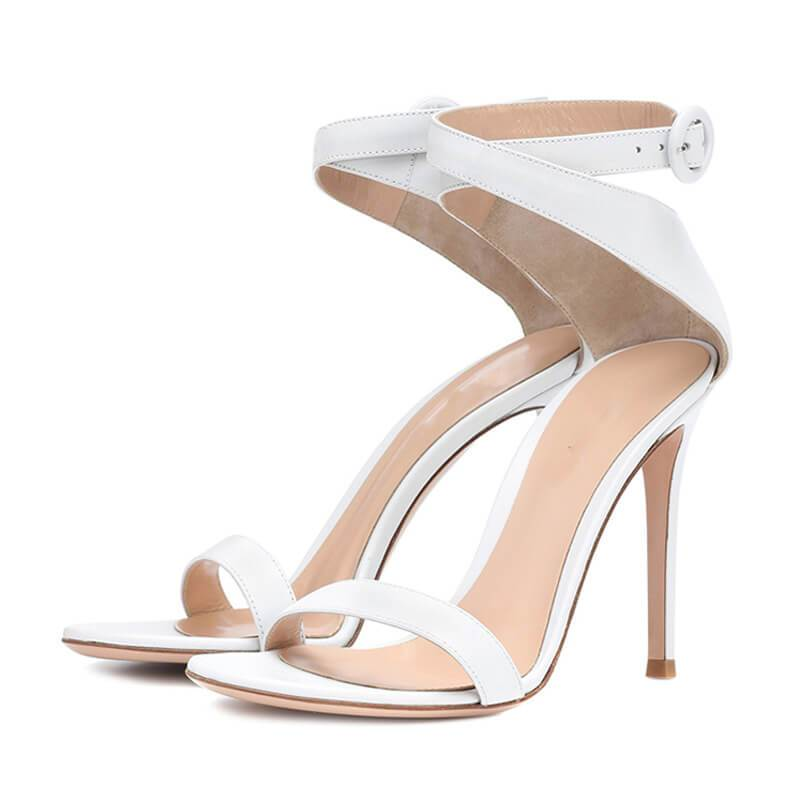 Summer Suede Buckle Open Toe Stiletto Heel Sandals
