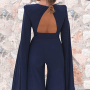 Sleeveless Navy Wide Leg V Neck With Train Jumpsuits
