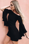 Pure Color Off Shoulder Trumpet Sleeves Short Dress
