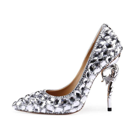 Point Toe Ankle Rhinestone Stiletto Heel Crystal Pumps