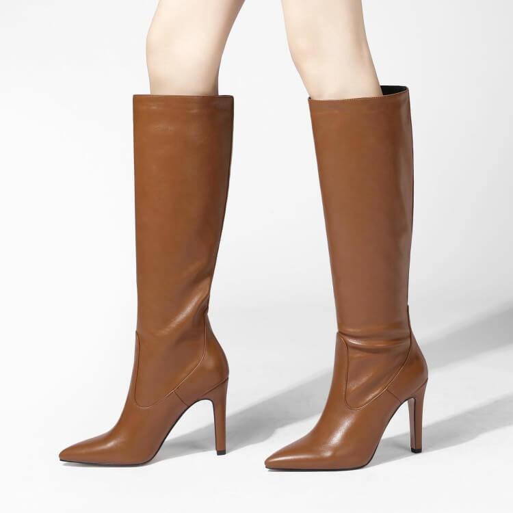 Sexy Leather Point Toe Plain Knee High Boots
