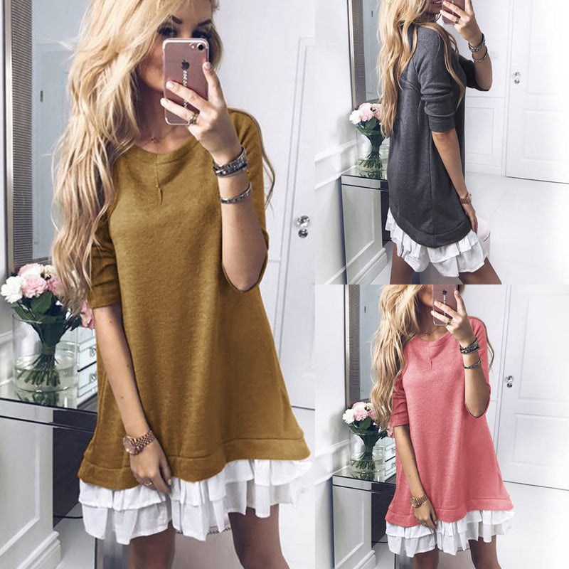 Patchwork Long Sleeves Loose Scoop Short Dress