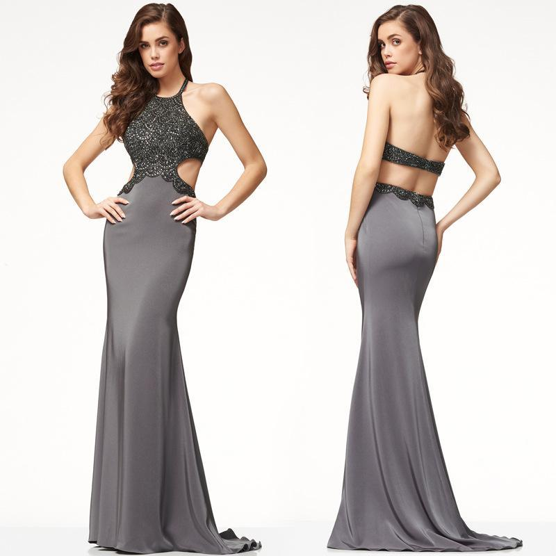 Backless Halter Sleeveless Scoop Long Party Dress