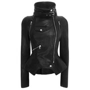 Stand Collar PU Zipper Moto Jacket