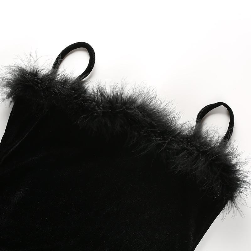 Faux Fur Decoration Spaghetti Straps Little Black Party Dress
