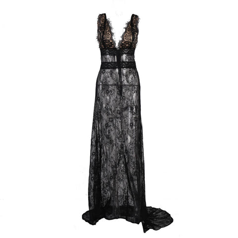 Black See Through Lace Backless Dress
