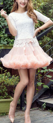 Beautiful Patchwork Multi-Layers Short Fluffy Skirt