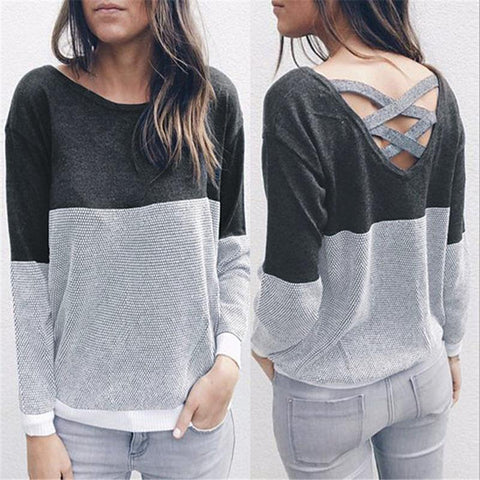 Patchwork Scoop Open Back Strap Cross Women Pullover Sweater