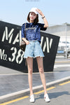 High Waist Pure Color Patchwork Denim Shorts