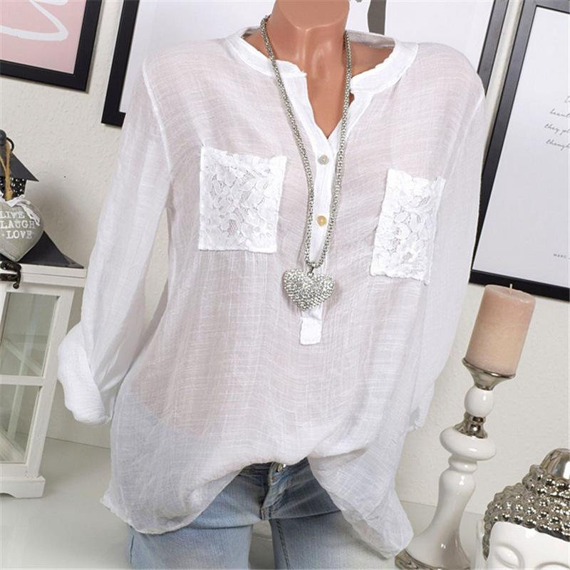 Lace Pockets Scoop Loose Pure Color Loose Blouse with Plus Size
