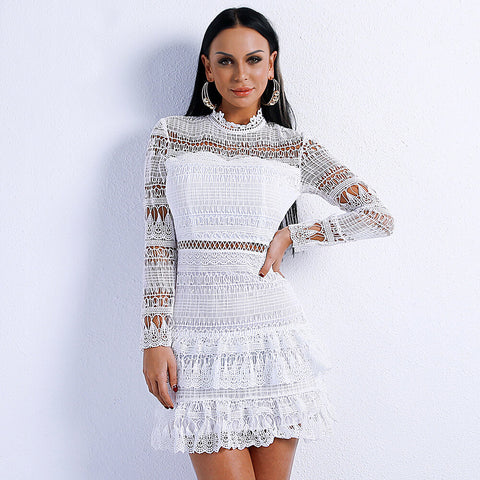 White See Througt Lace Short Dress