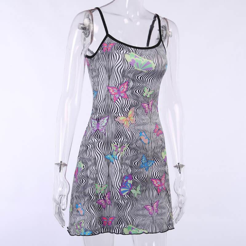 Butterfly Print Bodycon Sling Short Dress