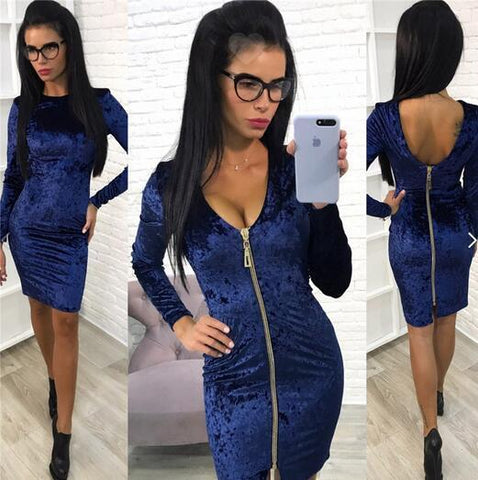 Zipper Irregular Pure Color Long Sleeves V-neck Short Dress
