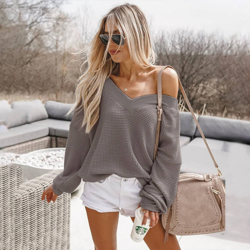 V-Neck Pure Color Pullover Knit Sweater