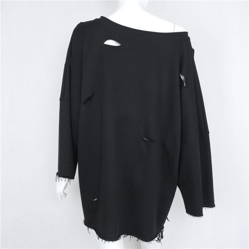 Cut Out One Shoulder Loose Long Sweatshirt