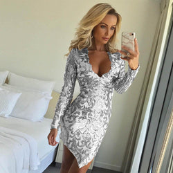 Irregular Sequins Flowr Long Sleeves V-neck Short Dress
