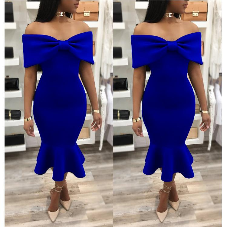 Big Bowknot Off Shoulder Short Sleeves Mermaid Tee-length Dress