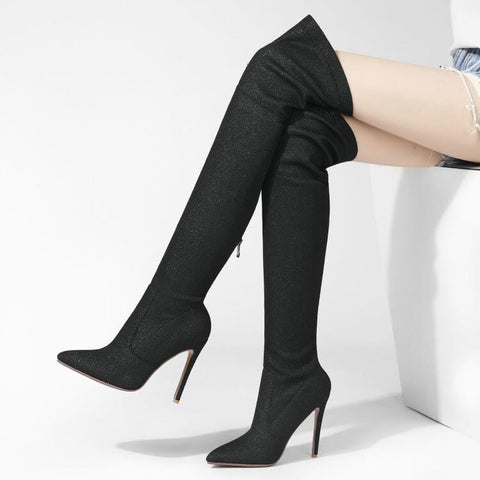 Sexy Fabric Point Toe Stretch Over Knee Boots