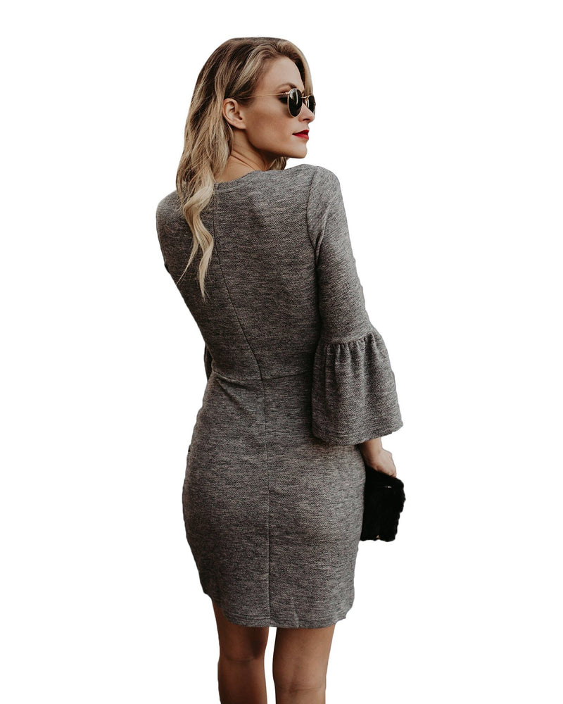 3/4 Trumpet Sleeves Scoop Short Loose Dress