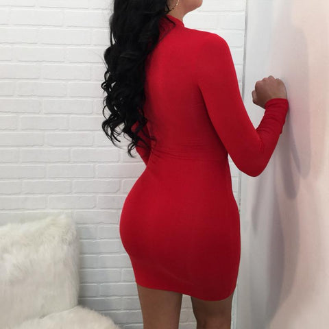 Sexy Hollow Slim Pure Color Long Sleeves Bodycon Short Dress