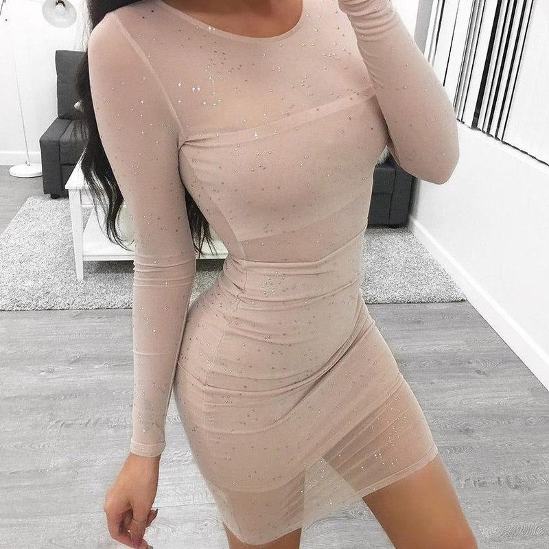 Sequins Mesh Patchwork Transparent Long Sleeves Scoop Short Dress
