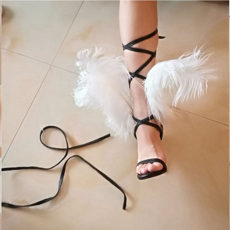 Party Fur Strap Open Toe High Heel Sandals