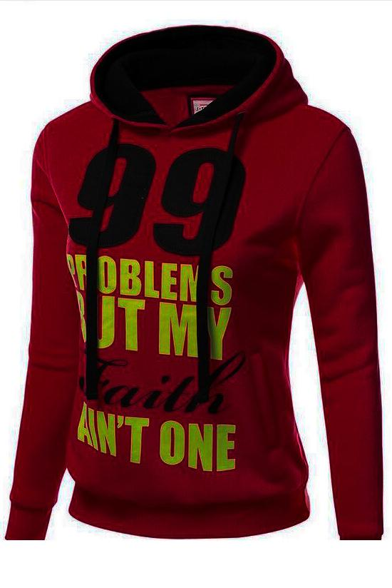 Number and Letters Print Drawstring Pocket Slim Hoodie