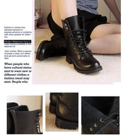 Women's Cool Black PUNK Military Army Knight Lace-up Short Boots - Oh Yours Fashion - 2