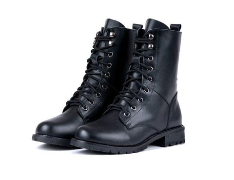 Women's Cool Black PUNK Military Army Knight Lace-up Short Boots - Oh Yours Fashion - 6