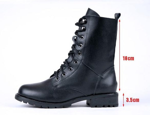 Women's Cool Black PUNK Military Army Knight Lace-up Short Boots - Oh Yours Fashion - 10