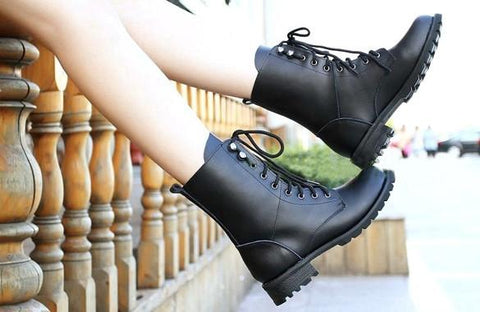Women's Cool Black PUNK Military Army Knight Lace-up Short Boots - Oh Yours Fashion - 11