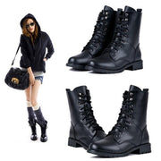 Women's Cool Black PUNK Military Army Knight Lace-up Short Boots - Oh Yours Fashion - 12