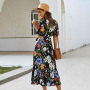 Retro Floral Tie Waist Midi Dress