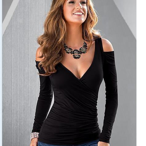 V-neck Long Sleeves Skinny Cross Wrap Shoulder Out Blouse