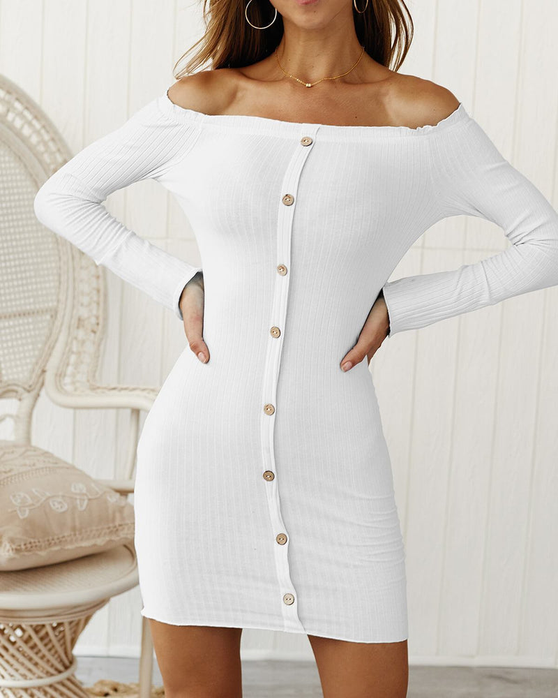 Off Shoulder Long Sleeve Backless Pure Color Short Dress