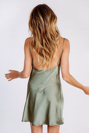 Spaghetti Straps V-neck Backless Chiffon Short Dress