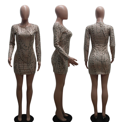 O-Neck Transparent Long Sleeves Short Club Dress