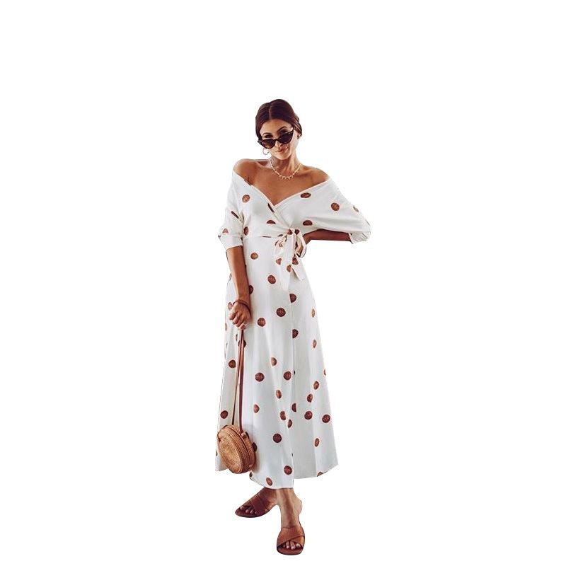 Off Shoulder Lace Up Print Dress