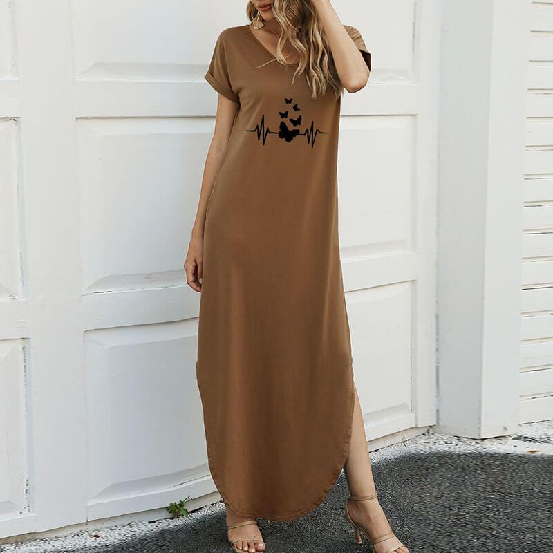 Butterfly Printed Loose Long Dress