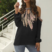 Floral Print Hollow T-shirt