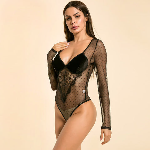 Sexy Black Mesh Sheer Slim Long Sleeves Dotted Bodysuits